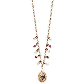 Rosetone Cultured Glass Pearl/Purple Crystal/Floral Decal Necklace - 16in