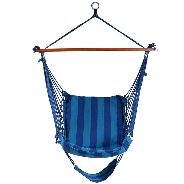 Sunnydaze Hanging Soft Cushioned Hammock Chair with Footrest & C-Stand
