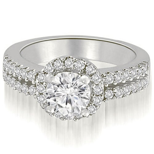 1.13 cttw. 14K White Gold Two Row Round Cut Halo Diamond Engagement Ring