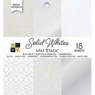 "Solid Whites Glitter & Foil - DCWV Single-Sided Cardstock Stack 6""X6"" 18/Pkg"