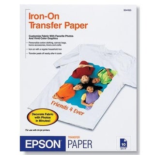 """Epson S041153 Iron-On Transfer For Inkjet Printers With 10 Sheet Of 8.50"""" X 11"""""""