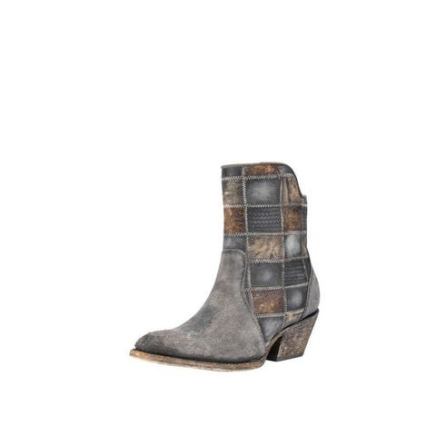 Corral Western Boots Womens Patchwork Round Toe Ankle Chocolate