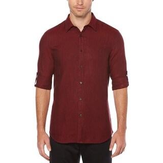 Perry Ellis Mens Button-Down Shirt Textured Short Sleeves