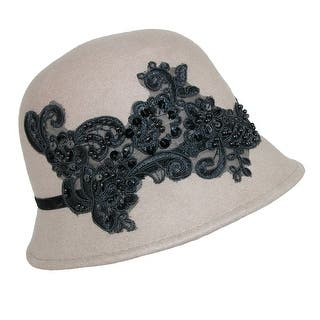 Callanan Women's Wool Felt Cloche with Beaded Lace Design|https://ak1.ostkcdn.com/images/products/is/images/direct/1aeee8b22f1a7df05ce9a0c4c4f3c66a8ed502dd/Callanan-Women%27s-Wool-Felt-Cloche-with-Beaded-Lace-Design.jpg?impolicy=medium