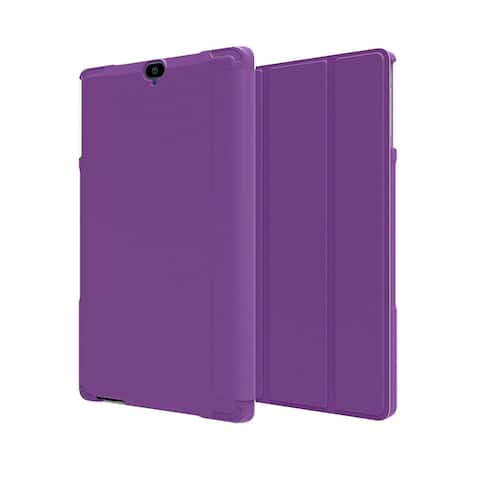 Verizon Folio Case & Tempered Glass Bundle for Ellipsis 8 HD - Purple