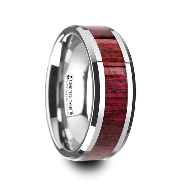 Mauve Purpleheart Wood Inlaid Tungsten Carbide Ring With Bevels