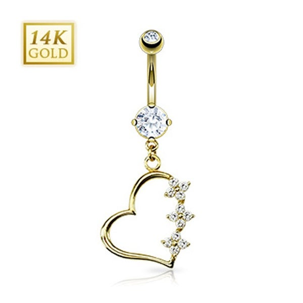 "14 Karat Solid Yellow Gold Triple CZ Flower Heart Dangle Navel Belly Button Ring - 14GA 3/8"" Long"