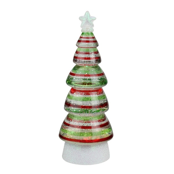 """11.25"""" B/O Red and Green Striped LED Christmas Tree Glitterdome"""
