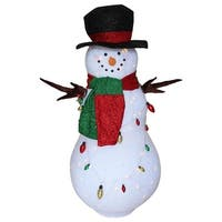 """60"""" Green and Red Lighted Musical Christmas Snowman Inflatable"""