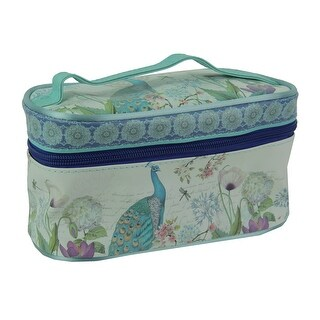 Blue Peacock Print Portable Storage and Travel Makeup Bag