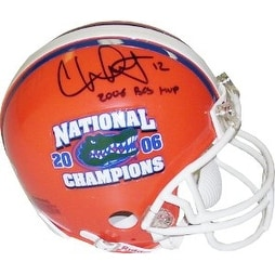 Chris Leak signed Florida Gators Replica Mini Helmet w/ National Champs Logo & 2006 BCS MVP