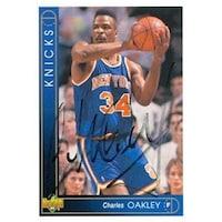 af3c1eda3 Shop Signed Oakley Charles New York Knicks 1992 Fleer Basketball ...