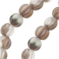 Czech Pressed Glass - Round Melon Beads 5mm Diameter 'Matte Apollo Gold' (50)