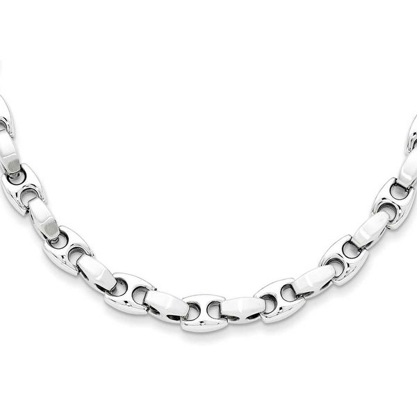 Chisel Brushed and Polished Stainless Steel Necklace - 20 Inches (8 mm) - 20 in