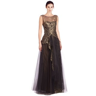 Marchesa Notte Metallic Lace Layered Tulle Illusion Neckline Evening Gown Dress - 0