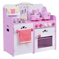 Costway Kids Wooden Play Set Kitchen Toy Strawberry Pretend Cooking Playset Toddler - Pink&White