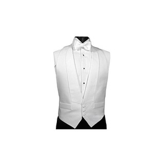 White Pique Adjustable Backless Tuxedo Vest with Matching (pretied) Bow Tie - One Size Fits All