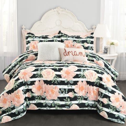 Lush Decor Amara Watercolor Rose 7 Piece Comforter Set