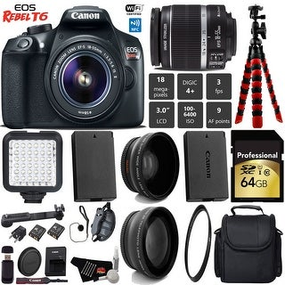 Canon EOS Rebel T6 DSLR Camera with 18-55mm IS II Lens + Camera Case + Tripod + Card Reader + Bundle 12 (Intl Model)
