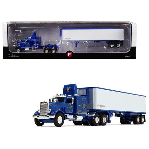 Peterbilt 351 63\' Sleeper Cab with 40\' Vintage Trailer Western Distributing Blue and White 1/64 Diecast Model by First Gear