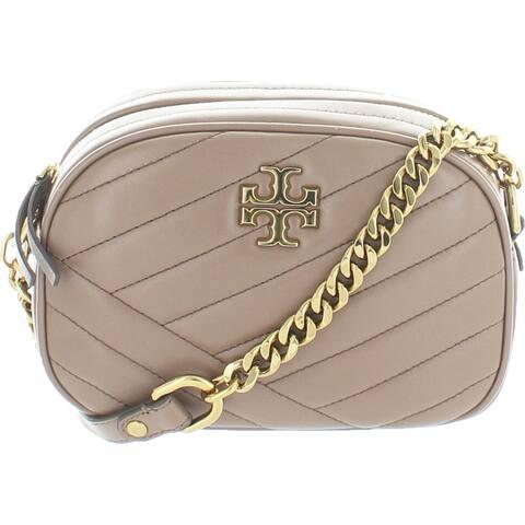 Tory Burch Womens Kira Crossbody Handbag Lambskin Leather Camera - Classic Taupe - Small