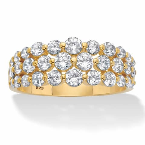 Gold Plated Silver Round Cubic Zirconia Triple Row Anniversary Ring - White