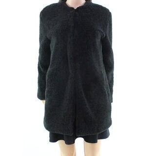 BB Dakota NEW Black Women's XS Faux-Fur Hook-Front Fuzzy Jacket