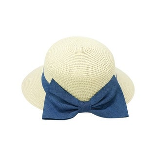 ChicHeadwear Womens Modified Sun Hat w/ Denim Bow - One size