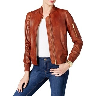 Michael Kors Womens Bomber Jacket Lambskin Leather Ribbed Trim - xs