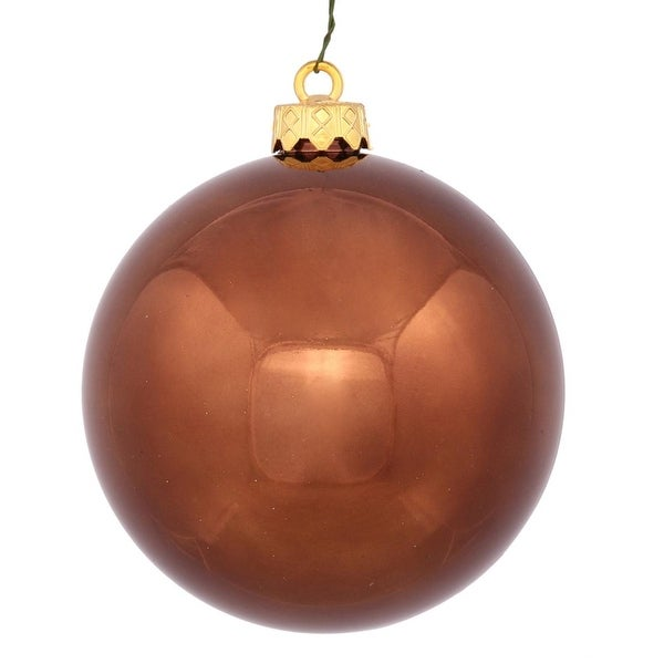 """Shiny Chocolate UV Resistant Commercial Drilled Shatterproof Christmas Ball Ornament 2.75"""" (70mm) - brown"""