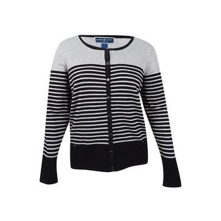 Karen Scott Women's Plus Size Striped Cardigan (3X, Deep Black Combo) - deep black combo - 3x