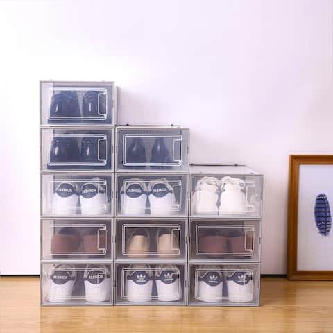 Foldable Shoe Box, Stackable Transparent Storage Boxes