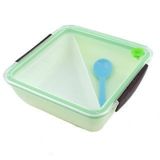 Unique Bargains PP Square Shaped Picnic Lunch Box Lunchbox Food Storage Container Green w Spoon