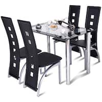 Costway 5 Piece Dining Set Glass Table and 4 Chairs Home Kitchen Breakfast Furniture - <br>