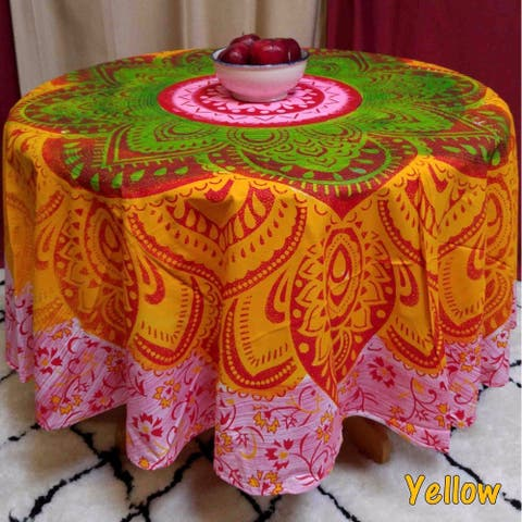 Cotton Blooming Floral Heart Medallion Print Tablecloth Round 81 inches Beach Throw Beach Sheet Green Blue Yellow - 81 inches