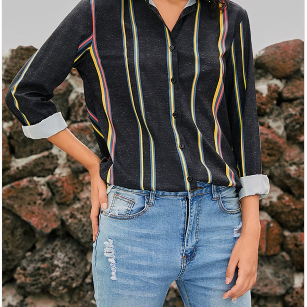 Striped V Neck Long Sleeves Casual Shirt Blouses