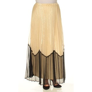 Womens Gold Color Block FullLength Pleated Skirt Size 12