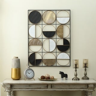 Link to Black, White, and Gold Metal Modern Geometric Wall Panel Similar Items in Metal Art