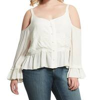 Jessica Simpson White Women's Size 2X Plus Embroidered Knit Top