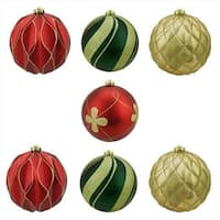 6 in. Matte And Glitter Red Gold And Green Earthy Shatterproof Ball