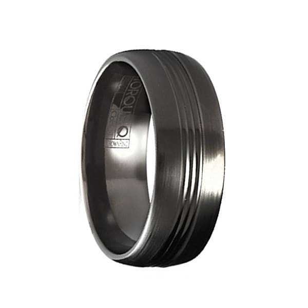 SHAO Torque Black Cobalt Wedding Band Brushed Finish Center Grooved Line Accent by Crown Ring - 7 mm