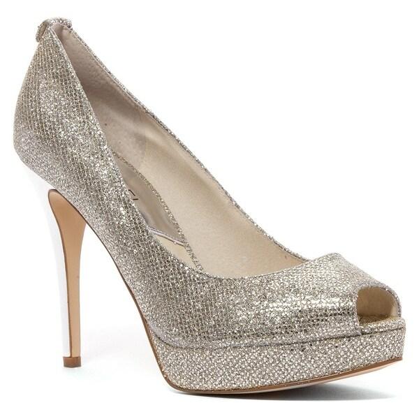 MICHAEL Michael Kors Womens' York Platform Peep Toe Pumps Glitter Silver