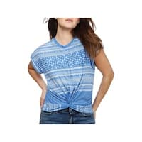 Lucky Brand Womens T-Shirt Printed Knot-Front