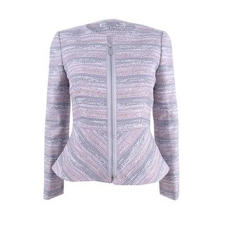 Tahari ASL Women's Petite Tweed Peplum Blazer - Pink/Grey