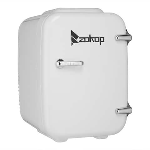 Portable Small Refrigerator, Mini Fridge, Car Fridge, with Hot and Cold Box, White, 5L