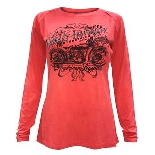Harley-Davidson Women's Lattice Embellished Long Sleeve Raglan Shirt, Coral