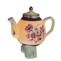 Blue Garden Flowers White Porcelain Teapot Plug In Night Light