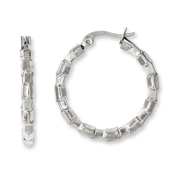 Chisel Stainless Steel Polished & Textured Hoop Earrings