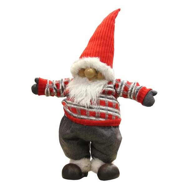 "28"" Standing Santa Gnome with Red and Gray Sweater Christmas Decoration"