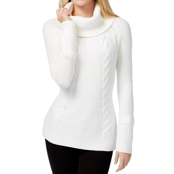 Calvin Klein Womens Sweater Cable Knit Cowl-Neck